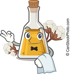 Waiter cottonseed oil in the cartoon shape vector ...