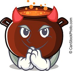 Waiter Devil cauldron toy in the character shape vector illustration
