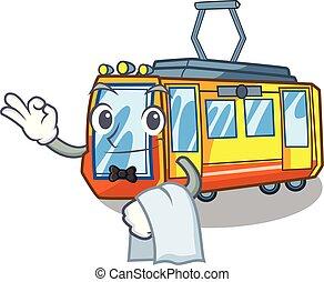 Waiter electric train toys in shape mascot