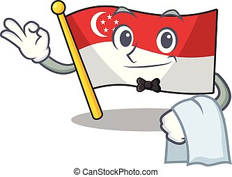 Waiter flag singapore isolated with the character vector illustration
