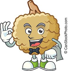 Waiter fresh marolo fruit character mascot in cartoon