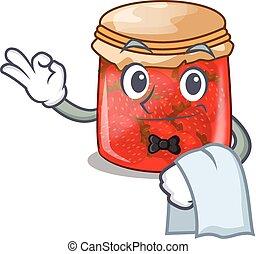 Waiter fresh tasty strawberry jam on mascot vector...