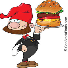 waiter gnome with burger