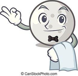 Waiter golf ball mascot cartoon