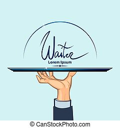 waiter, human hand with a tray, simple color illustration