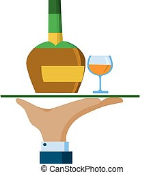 Waiter hand hold a serving tray with whiskey bottle and glass