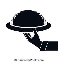 waiter hand holding a platter