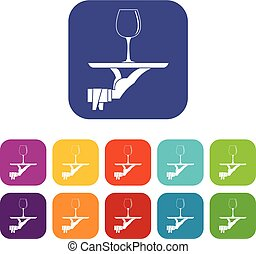 Waiter hand holding tray with wine glass icons set