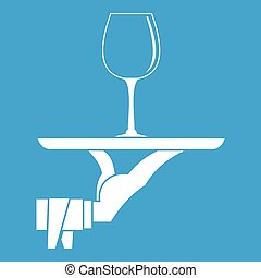 Waiter hand holding tray with wine glass icon