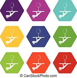 Waiter hand holding tray with wine glass icon set color hexahedron