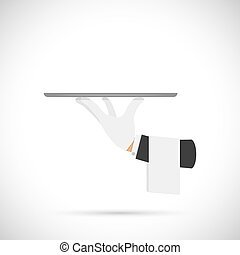 Waiter hand with tray and towel. - Waiter hand with tray and...