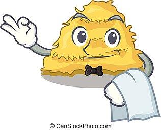 Waiter hay bale mascot cartoon vector illustration