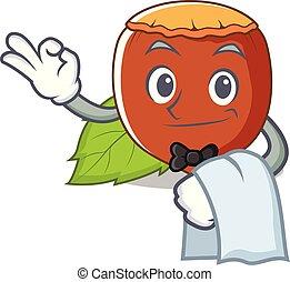 Waiter hazelnut mascot cartoon style