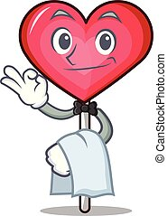 Waiter heart lollipop mascot cartoon vector illustration
