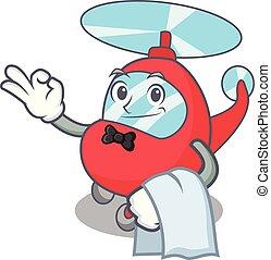 Waiter helicopter mascot cartoon style