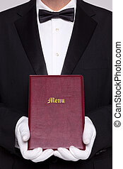 Waiter holding a Menu folder in a restaurant.