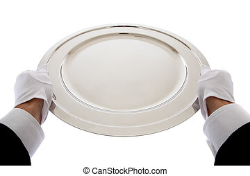 Waiter holding a silver tray
