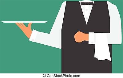 Waiter holding a tray and towel on his hand