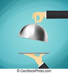 Waiter holding a tray with a dome in his hands. Stock Vector car