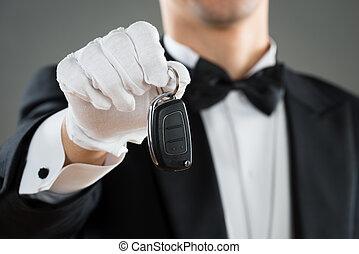Waiter Holding Car Key