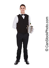 Waiter Holding Champagne Bottle In Cooler