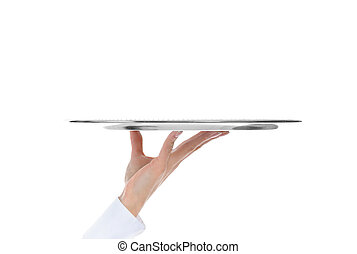 Waiter holding empty silver tray. Isolated on white ...