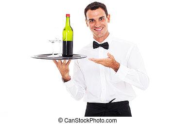 waiter holding tray of wine