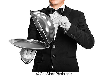 waiter holds tray with metal lid isolated on white...
