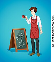 Waiter holing cup of coffee