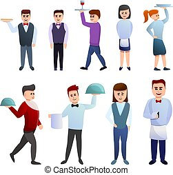 Waiter icons set, cartoon style