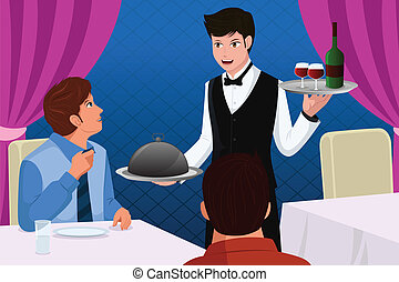 Waiter in a restaurant serving customers - A vector...