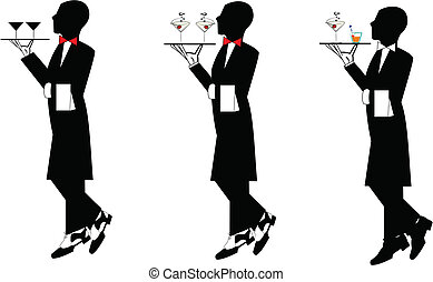 waiter in tails - three waiters in formal attire with drinks...