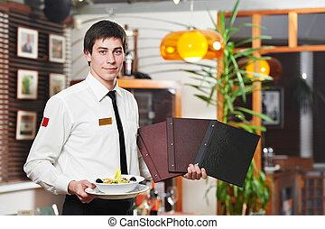 waiter in uniform at restaurant - handsome man waiter in...