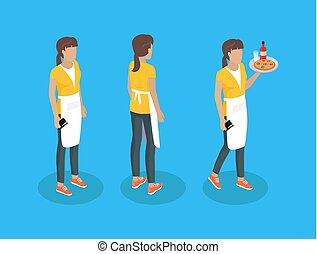 Waiter in uniform, working concept vector icons