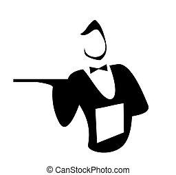 Waiter isolated on a white background