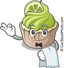 Waiter lemon cupcake mascot cartoon