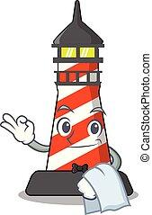 Waiter lighthouse on the beach mascot