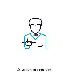 Waiter linear icon concept. Waiter line vector sign, symbol, illustration.