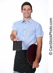 Waiter offering menu