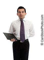 Waiter or restaurateur with a menu