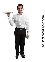 Waiter or Servant - Smiling waiter or servant holding a...