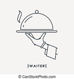 Waiter outline icon. Waiter's hand with tray