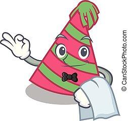 Waiter party hat mascot cartoon vector illustration