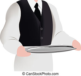person in uniform carrying trays for catering use