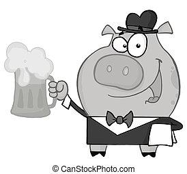 Waiter Pig Serving A Mug Of Beer