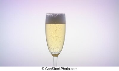 Waiter pours the champagne into the glass. White background...