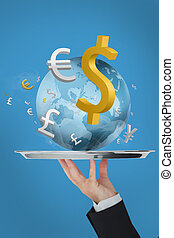 Waiter presenting the world and currency on blue background