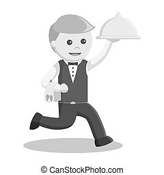 Waiter running and holding platter