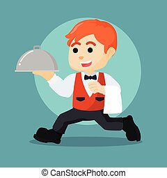waiter running holding food