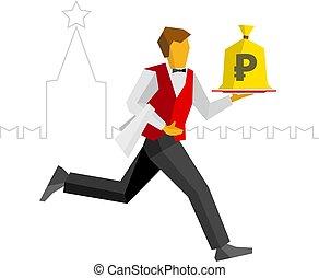 Waiter runs with money bag on a tray, Kremlin behind